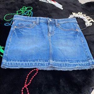 Old Navy Denim Blue Jean Fringed Skirt Girls 14